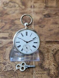 schöne 800 Silber Eppner&Co Schlüssel-Taschenuhr mit 6 Rubine Uhrwerk