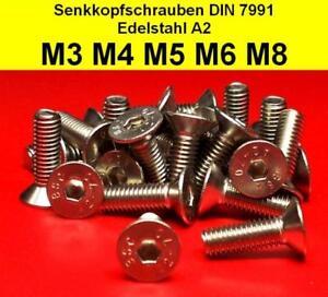 Senkkopfschrauben mit Innensechskant Falk-Schrauben Nirosta V2A DIN 7991 Edelstahl A2 M6 x 20 1 St/ück