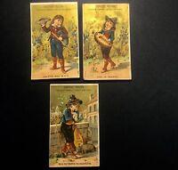 3 Chromos Poulain 1900  Doré Enfant A La Viole
