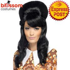W475 60's Brigitte Bouffant Costume Wig Black Beehive Hair Rock Hippy Mod Girl