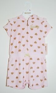 NWT Juicy Couture Little Girls Pink Terry Sparkle Heart SS Hooded Romper 5 6 6X