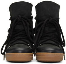 Isabel Marant Black Nowles Leather And Suede Wedge Heel Boots