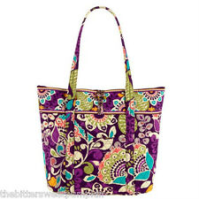 "VERA BRADLEY~AUTHENTIC~""VERA"" EXTRA LARGE TOTE BAG~PLUM CRAZY~NEW WITH TAG!"
