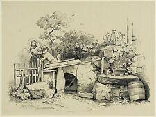 LUDWIG RICHTER - Mutter mit Kind an der Hundehütte - Lithografie 1857