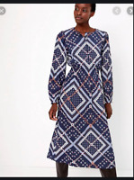 BNWT M&S Size 14 Navy Blue Waisted Ditsy Floral Patchwork Print Midi Dress