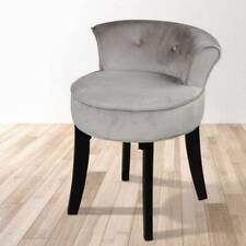 Grey Velvet Dressing Table Stool Black Legs Vanity Upholstered Bedroom Chair UK
