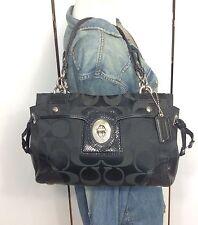 Coach Peyton Black Signature Sateen & Snakeskin Leather Tote Bag Purse 14507