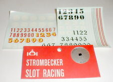 2 Decal Sheets of Racing Numbers and Stripes by Strombecker Slot Car Vintage NOS