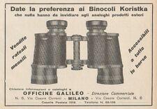 Z1628 Officine GALILEO - Binocoli Koristka - Pubblicità d'epoca - 1930 Old ad