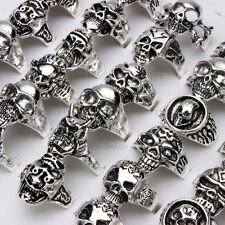 Wholesale lots 10pcs skull carved biker men Tibet silver P rings 17-20mm FREE