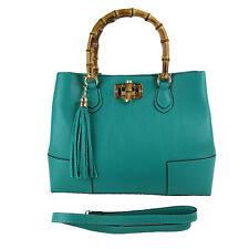 Women Lady Handbag Satchel Genuine Real Leather Togo Clutch  bamboo  tiffany