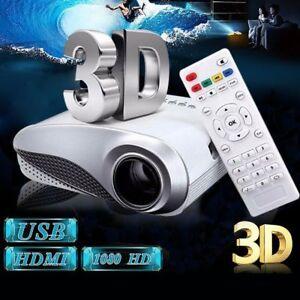 3D Full HD 1080P Mini Projectors LED Multimedia Home Theaters USB VGA HDMI TV AV