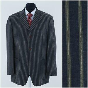 STONES Mens Size UK 42R Vintage Striped Summer Linen Sport Coat Blazer Jacket