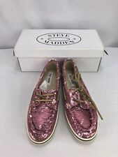 Steve Madden Womans Yacht Boat Pink and Beige Sequin Loafers Shoes 8 NIB
