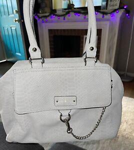 Nicole Miller New York Light Grey Satchel Bag Purse Front Chain Soft Leather EUC