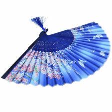 2x Japonais Éventail Papillon Fleur Bleu Ventilateur Pliant Soie Traditionnel