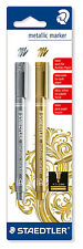 2 STAEDTLER 8323-S BK2 metallic marker gold & silber 1-2 mm Lackmarker NEU&OVP