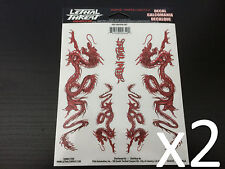"x2 (2.24"" x 6.65"") Lethal/Threat Red Dragon Body Decal Emblem Logo Sticker"