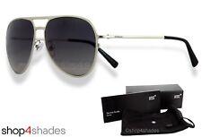 Montblanc Aviator Unisex Sunglasses Shiny Palladium_Smoke Grey 546S-S 16B