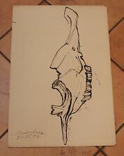 Andre Racz.(1916-1994) Drawing Cow Skull Study Animal.Listed artist 18 X 26