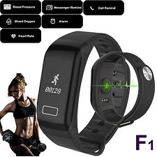 F1 Fitness Blood Pressure Oxygen Heart Rate Monitor Smart Watch Band Bracelet US