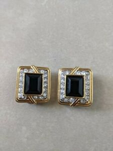 Vintage Authentic SWAROVSKI Crystal Clip On Earrings swan signed