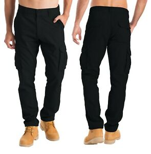 Mens Cargo Combat Work Trousers Chino Cotton 6 pocket full Pantsize 32-44