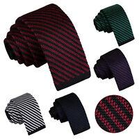 DQT Mens Skinny Tie Knit Knitted Diagonal Stripe Necktie FREE Pocket Square