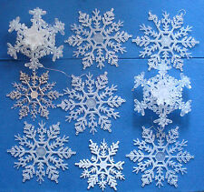 set of 9 snowflake Christmas ornaments acrylic frosted glittered plastic