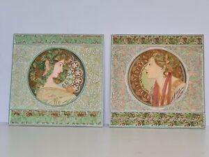 Art Nouveau Wall Plaque Art Alphonse Mucha Past Times Ceramic Tiles 2 Pair