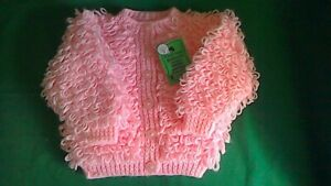 Hand-knitted  Baby's  pink loopy  Cardigan  size 18 inch chest