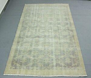 Bohemian Distressed Beige Carpet Anatolia Handmade Turkish Ethnic Area Rug 5x8ft