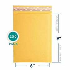 250 6x10 Kraft Bubble Mailers Paper Padded Envelopes Shipping Case 6