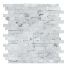 Peel and Stick Classic Linear Grey White Stone Mosaic Tile Backsplash MTO0213