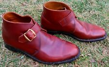 Vtg Men's Porter Hawkins Bespoke Brown Leather Shoes Boots Buckle Sz 8 - England