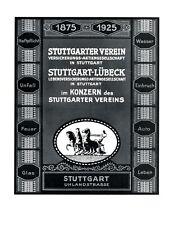 Versicherung Stuttgarter Verein XL Reklame 1925 Stuttgart Werbung Streitwagen +