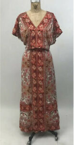LUCKY BRAND WOMEN'S SLEEVE LESS PAISLEY MAXI DRESS RED LARGE L