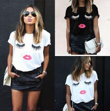 UK Fashion Women Eyelash Lips Short Sleeve Tops Casual Tee T-Shirt Blouse Top