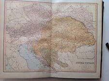 Austria, Hungría, antiguo mapa c1880, William Collins, Atlas
