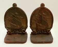 ANTIQUE BRADLEY & HUBBARD TALL MASTED SHIPS MARKED BOOKENDS CAST IRON B & H
