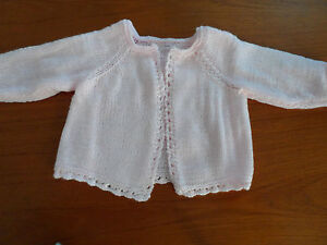 Hand knitted lace edge baby girl cardigan white, pink,yellow or lilac