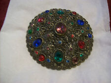 Brooch Antique New England Glass Works Filigree Large Multi-Color Rhinestones