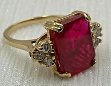 Ruby 14K Yellow Gold Ladies Ring Size 7.5 6 Diamonds Estate Find 20-303