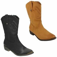 LADIES WOMENS SPOT ON ZIP UP POINTED TOE BLACK MID CALF COWBOY BOOTS F50170