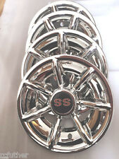 "GOLF CART CHROME 10"" HUB CAP SET OF 4 Fits CLUB CAR EZ GO YAMAHA SS RED 4pcs"