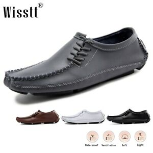 Men's Leather Driving Dress Loafers Penny Flats Deck Hiking Oxford Casual Shoes