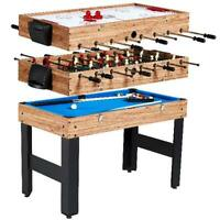 "48"" 3-In-1 Multi Combo Game Table Foosball Soccer Billiards Hockey Family Play"
