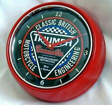 TRIUMPH BONNEVILLE MOTORCYCLES THEMED METAL RETRO STYLE WALL CLOCK. BOXED