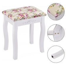 White Vanity Wood Dressing Stool Padded Chair Makeup Piano Seat W/ Rose cushion