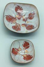 2 Vintage Mcm Enamel on Copper Plate/Ashtray Red, White & Copper